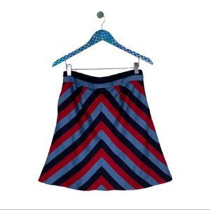 Lauren Moffatt Soft Red Blue Chevron Mini Skirt
